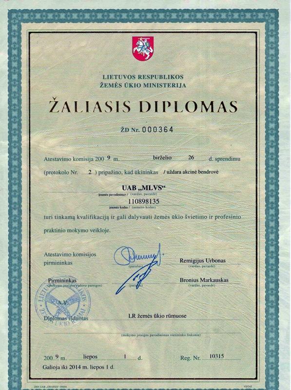 Žaliasis diplomas www.mlvs.info