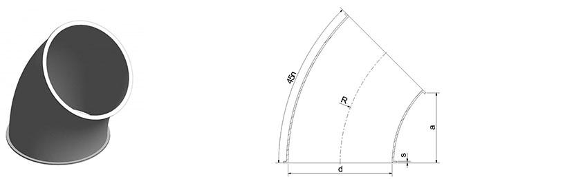 45 laipsnių segmentas