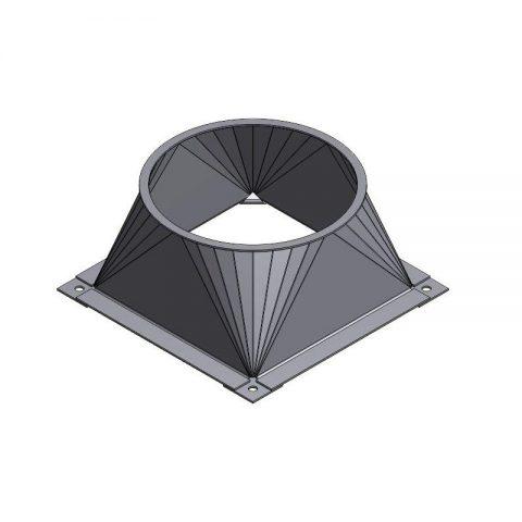 Cinkuoto metalo kvadratinis perėjimas