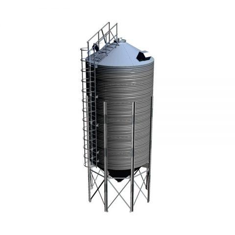 Grūdų bokštas su piltuvo formos dugnu