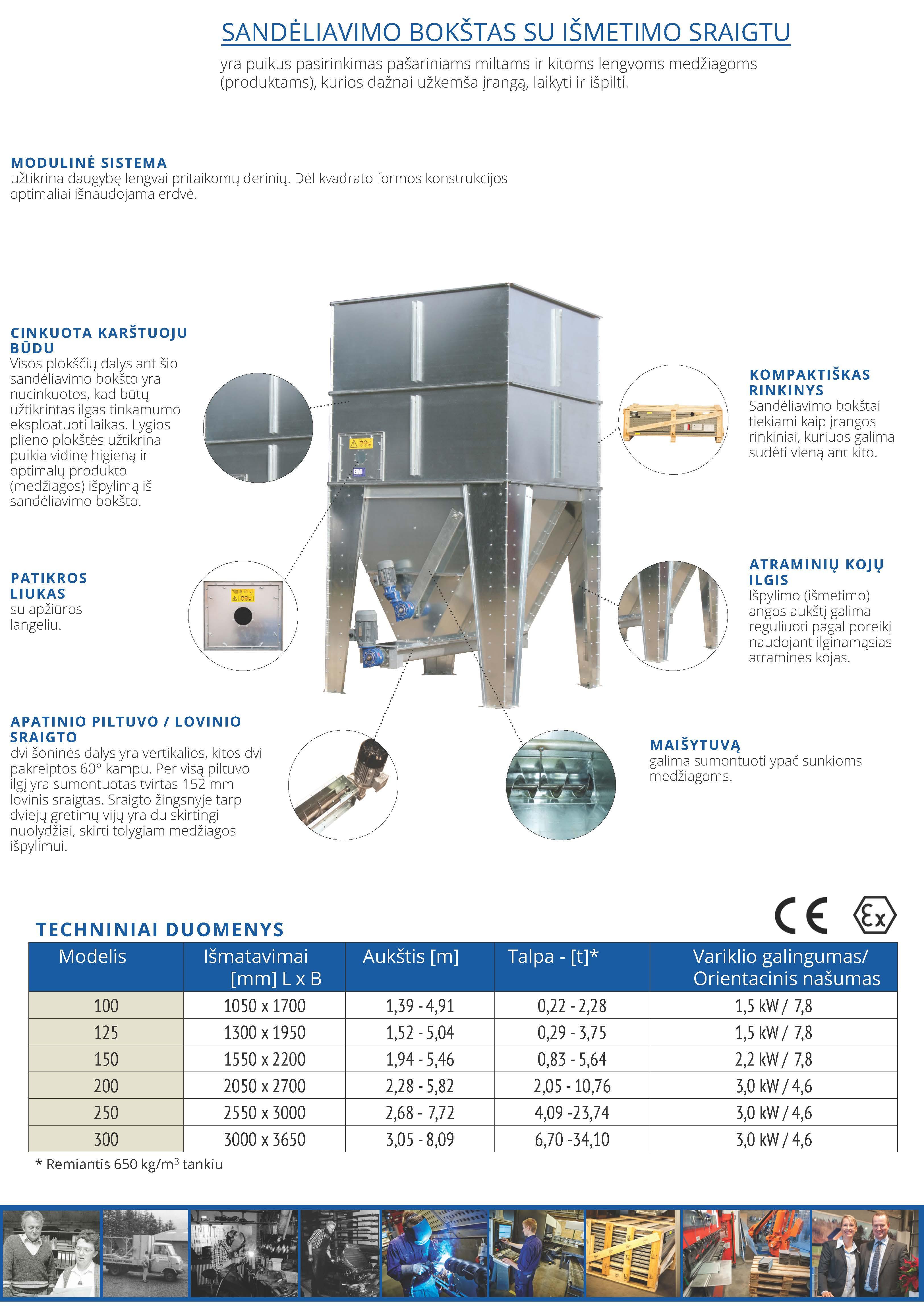 Sandėliavimo bokštas su iškrovimo sraigtu techniniai duomenys