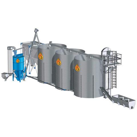 Kombinuotųjų pašarų gamybos linija su pneumatine grūdų smulkinimo mašina